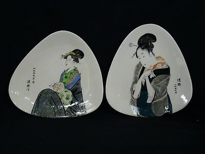 PAIR of LARGE VINTAGE POST CHINESE REPUBLIC ERA LADY PORTRAIT with POEM PLATES