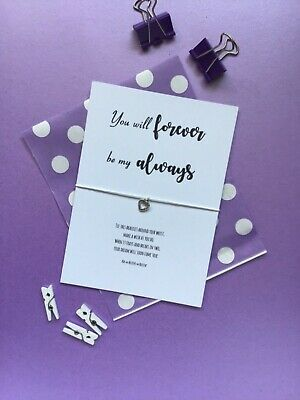 """Heart Wish Bracelet, """"You will forever be my always"""" Valentines Gift Card"""