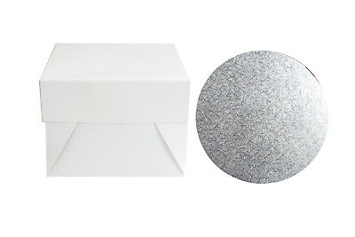 "8"" Silver Round Cake Board & White Box Combo Pack - Thick Drum Wedding Baking"