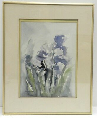 Signed Framed Original Watercolor Painting by Jean Demberget, Irises