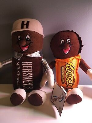 """Hershey's 9"""" Plush REESE'S Milk Chocolate Bar Peanut Butter Cups Toy Dolls NWT"""
