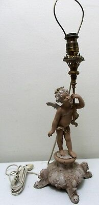 Antique Casco Metal Cherub w/ Torch- Brass Fixture Zinc Base Table Lamp- Painted
