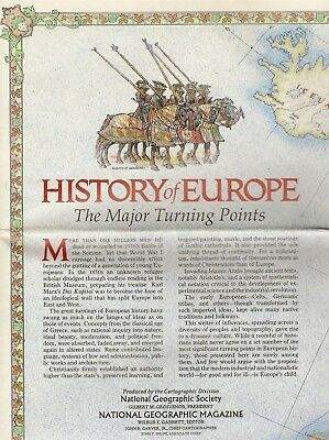 Wall Map EUROPE HISTORY Battles Cathedrals Medieval Trade Routes Germany France