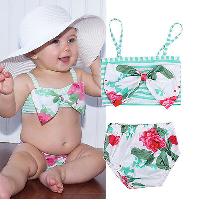 Floral Baby Girls Kids Tankini Swimwear Bikini Swimsuit Bathing Suit Beachwear