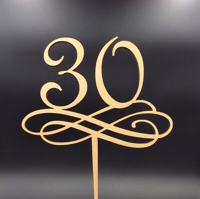 1 Pc Cake Topper 30 40 50 60 70 80 Wooden Birthday Anniversary Party Supplies
