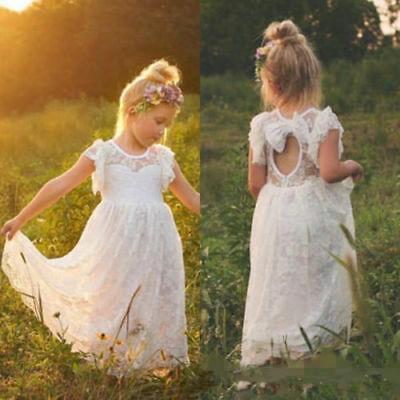 acf2fb249df Vintage Full Lace Bohemian Flower Girl Dress Little Kids Girls Formal Prom  Gowns