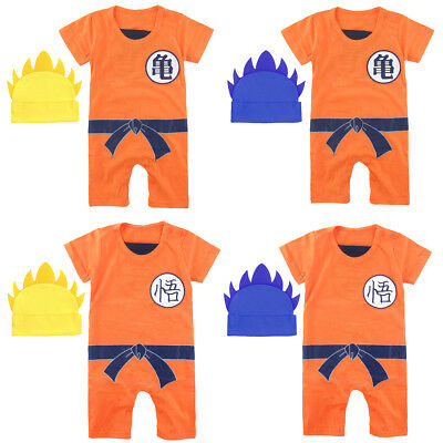 Baby Boys Dragon Ball Z Romper Newborn Goku Costume Infant Jumpsuit with Hat