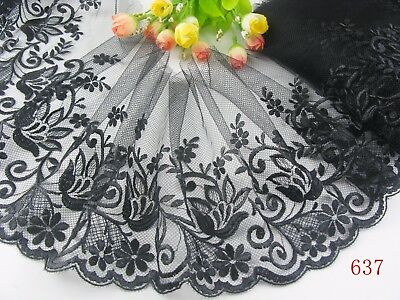 "7""*1yard delicate  Black embroidered flower tulle lace trim for DIY 637"