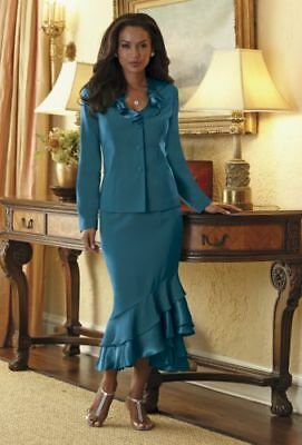 Midnight Velvet Tiered Ruffle Dress Skirt Suit Teal Black Dinner Church 12 14 16