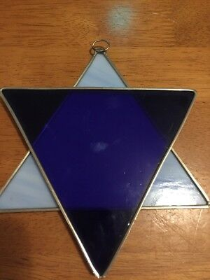 Stained Glass Jewish Star of David Sun Catcher Window Hanging