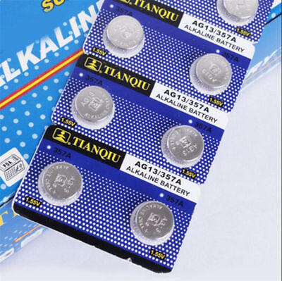 10pcs AG13 LR44 SR44 L1154 357 A76 Alkaline Batteries Button Cells Watch Tools