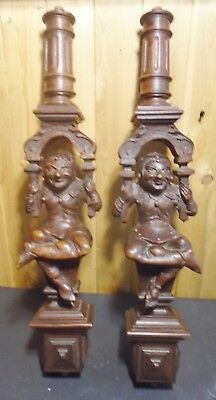 "A Pair of Hand Carved Wood COURT JESTERS Pedestals.""Life Is But a Joke"""