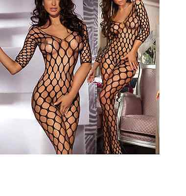Fishnet Babydoll Sexy Crotchless Bodysuit Lingerie Underwear BODYSTOCKING black