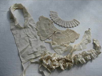 Mixed Lot Of 5 Vintage Antique Collars - Including Crochet, Linen, Silk etc