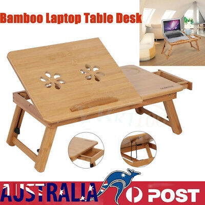 New Bamboo Laptop Table Desk Notebook Book Reading Writing Folding Tray Stand AU