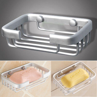 Aluminium Wall-Mounted Sink Soap Dispenser Tray Dish Holder Suction Shower Tool