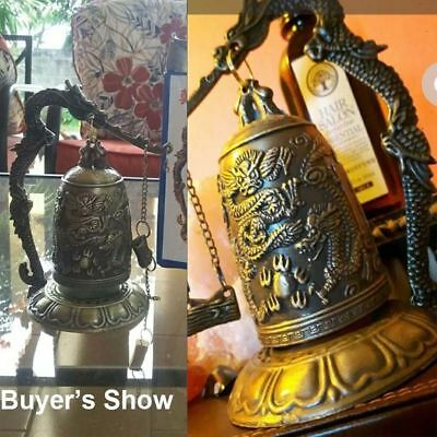 Bronze Lock Dragon Carved Buddhist Bell Good Luck Bell for Meditation Altar Good