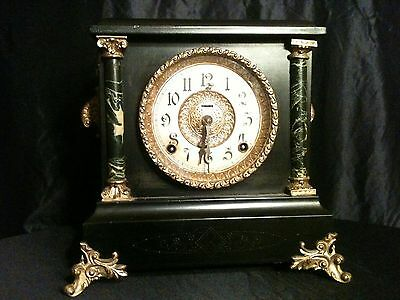 MANTLE CLOCK - E. INGRAHAM ANTIQUE BLACK AND GREEN Look!