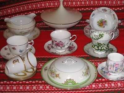21 Mixed Lot Of Porcelain Tea Cups W/saucer Gravy Boat Butter Dish England Japan