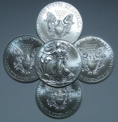 2015 Lot of 5 Silver American Eagle 1 oz. Coins - .999 fine silver Eagles 1oz