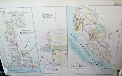 Marcus Hook, Tinicum, Linwood, Delaware County Genuine Antique Map 1892 Mueller