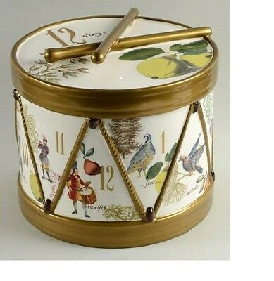 NEW Williams Sonoma Gold 12 Days of Christmas DRUM COOKIE JAR