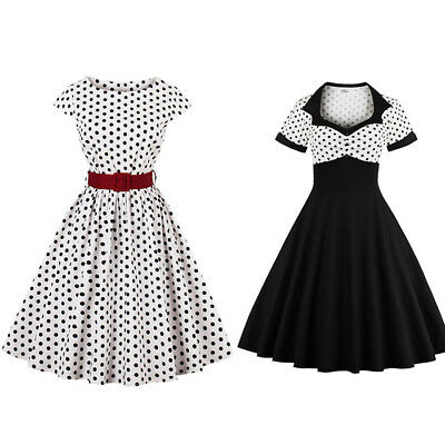 Damen Vintage Rockabilly Party Swing Kleid Polka Dots Abendkleid Tanzkleid 36-48