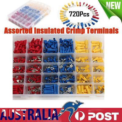720X Electrical Wire Connector Assorted Insulated Crimp Terminals Spade Kit AU