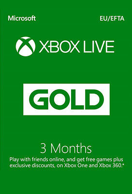 Microsoft 3 month Xbox live gold membership Subscription for xbox one xbox 360