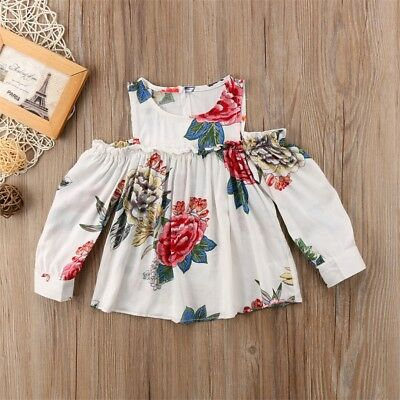 US Infant Newborn Baby Girls Floral Off Shoulder Tutu Dress Party Sundress Dress