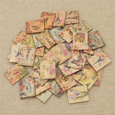 40 Pcs Stamp Wooden Buttons Vintage Sewing Scrapbooking DIY Decor Supplies