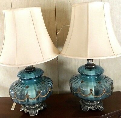 Pair of Large Vintage Accurate Casting Co Blue Glass Lamps with Brass Hardware