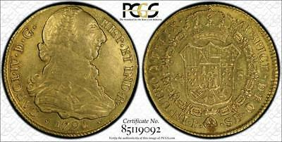 1790P SF Colombia Gold 4 Escudos PCGS AU53- Extremely Rare Top Pop coin!!