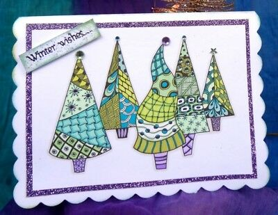 Zendoodle Trees Ready to Go Stamp Set   - Zendoodles funky tree stamps crafts