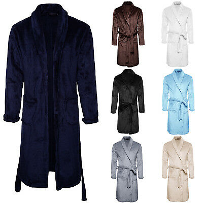 Luxury Men's Women's Long Sleeve Bathrobe Plush Fleece Warm Robe Dressing Gown