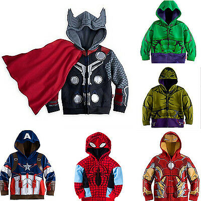 Toddler Kids Boys  Superhero Costume Hooded Jacket Coat Zipper Hoodie Sweatshirt
