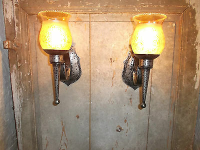 French a pair of wall light  solid wrought iron glass shades nicely detailed