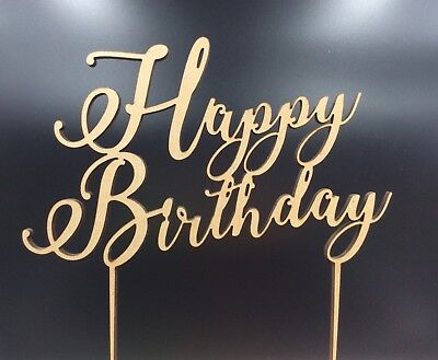 1Pc Cake Topper Laser Cut Happy Birthday Wooden Wood Birthday Party Supplies