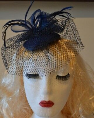 Navy Blue Hat Fascinator Feathers Large 20cm Ladies Day Weddings Royal Ascot