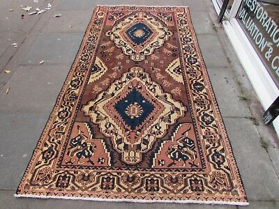Old Hand Made Traditional Persian Rug Oriental Rug Wool Red Brown Rug 257x136cm