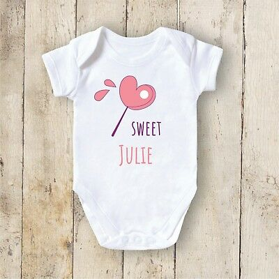 Personalised Baby Vest Grow Christening Bodysuit Your Text Newborn Gift - Candy