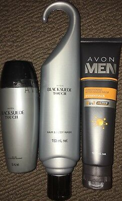 Avon Black Suede Touch Hair & Body Wash & Roll-On & Men After Shave Balm