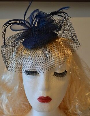 Navy Blue Looped Feather Veil Fascinator Hat Races Weddings Mother of the Bride