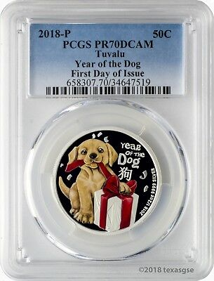 2018-P 50C Tuvalu Baby Dog .5oz .999 Silver Proof Coin PCGS PR70DCAM FD