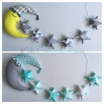 Handmade Sleeping Moon In Hat With Stars Garland Many Colours
