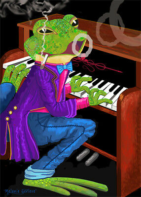 ACEO hand signed Melanie Gerleve Magic Smoking Frog Playing Piano Trading Card