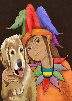 ACEO hand signed by Melanie Gerleve Magic Jester Girl Puppy Dog Trading Card