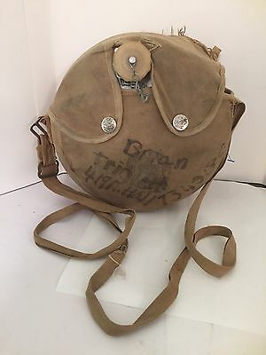 Vintage Boy Scouts Official Camping Canteen in Canvas Snap Cover & Cap 1970s