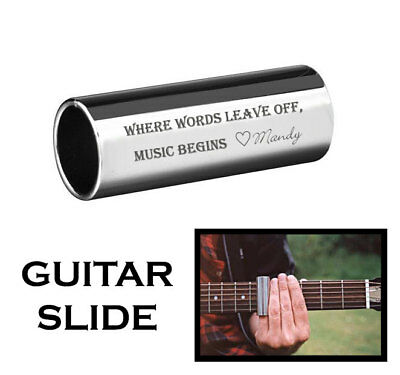 Personalized Silver Stainless Steel Guitar Slide Custom Engraved Free