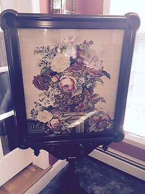 19th Century Victorian Needlepoint Tapestry Fire Screen GORGEOUS